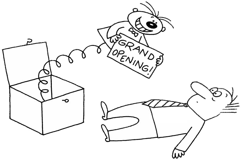 Caricatură cu reclamă apărută din senin